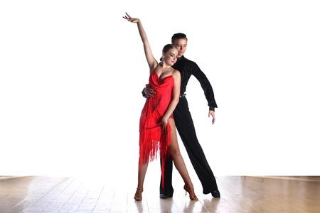 Latino dancers in ballroom isolated on white Foto de archivo