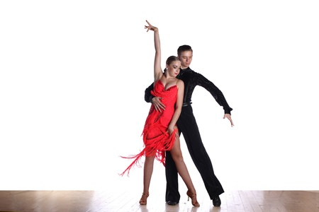 Latino dancers in ballroom isolated on white photo