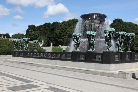OSLO, NORWAY- JULE 26: Statues in Vigeland park in Oslo, Norway on Jule 26, 2008. The park covers 80 acres and features 212 bronze and granite sculptures created by Gustav Vigeland