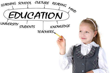 school girl drawing plan of Education Stock Photo - 22394526