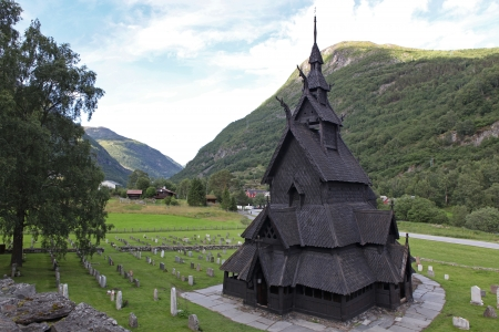Borgund Stave church. Built in 1180 to 1250, and dedicated to the Apostle St. Andrew. It is one of the best preserved stave churches in the world, Norway