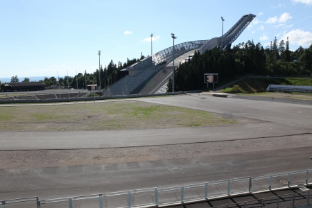 OSLO, JULY 26: Holmenkollen ski jump hill Oslo, Norway on July 26, 2012. The hill record is unofficially held by Anders Jacobsen at 142.5 meters
