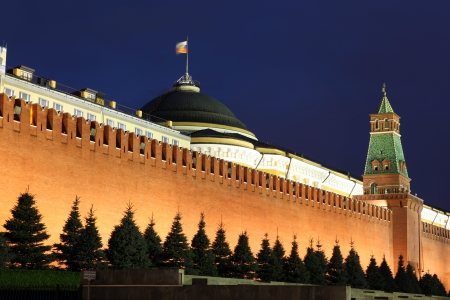 Kremlin wall, Senate and Senate tower in Red Square, Moscow, Russia photo