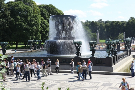 granite park: OSLO, NORWAY- JULE 26: Statues in Vigeland park in Oslo, Norway on Jule 26, 2008. The park covers 80 acres and features 212 bronze and granite sculptures created by Gustav Vigeland