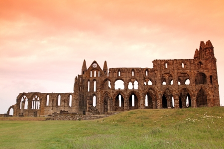 Whitby Abbey castle, ruined Benedictine abbey sited on Whitbys East Cliff in North Yorkshire on the north-east coast of England, UK photo