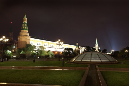 arsenal: Night View of Arsenal an d Arsenal Tower of Moscow Kremlin from Manezhnaya (or Manege) Square in Moscow summer, Russia