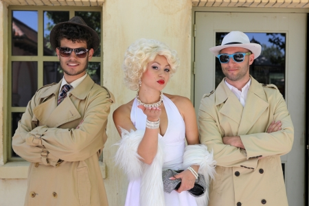 BARCELONA SPAIN - JUNE 16: impersonator Marylin Monroe and boys in Barselona Spain 16 June 2013.