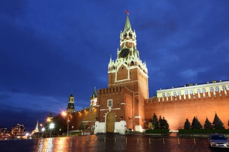 spassky: Spassky, Tsarskaya and  Nabatnaya Towers of Moscow Kremlin at Red Square in Moscow, Russia Stock Photo