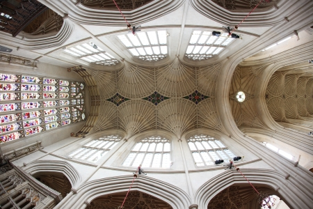 17th century: Bath Abbey, Bath, England. 17th century Fan vaulted ceiling.
