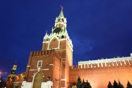 spassky: Spassky and  Nabatnaya Towers of Moscow Kremlin at Red Square in Moscow, Russia Stock Photo