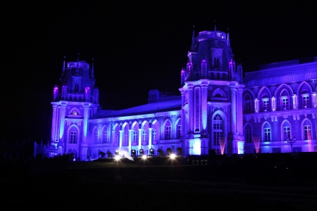 the tsaritsyno: Night view of The palace Tsaritsyno history museum in Moscow, Russia Editorial