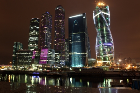 Famous and Beautiful night view Skyscrapers City international business center, Moscow, Russia