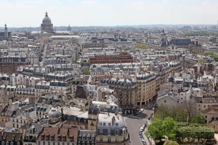 Famous and Beautiful view to Paris from Notre Dame cathedral, France photo