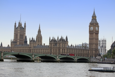 Famous and Beautiful view to Big Ben and Houses of Parliament with Thameas and Westminster Bridge, London, UK photo