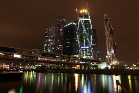 moskva river: Beautiful night view Skyscrapers City international business centre and Bagration bridge with Moskva river , Moscow, Russia Stock Photo
