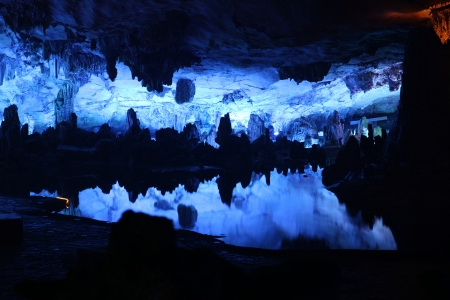 Lake in Reed Flute Caves in Guilin, Guangxi Provine, China
