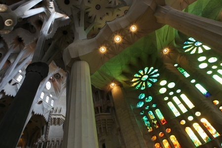 unrealistic: La Sagrada Familia, the unrealistic cathedral designed by Gaud in Barcelona Spain