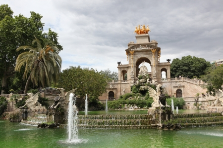 Fountain and cascade in park De la Ciutadella in Barcelona, Spain, Catalonia photo