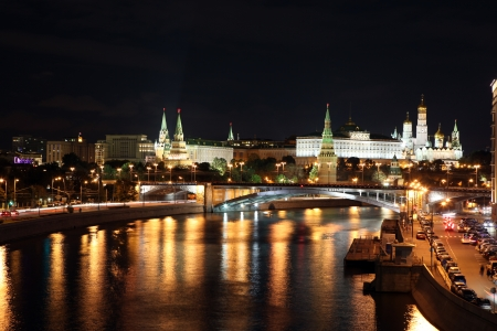 moskva river: Famous and Beautiful Night View of Moskva river, Big Stone Bridge and Moscow Kremlin Palace with Churches in the summer, Russia Stock Photo