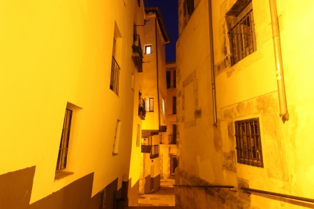 cuenca: Night view of picturesque old street in Cuenca. Spain