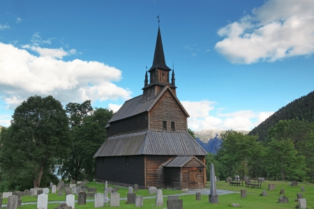 old wood Kaupanger Stave Church, Norway Stock Photo