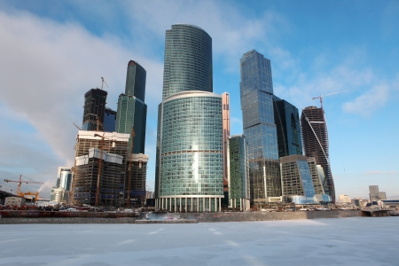 moskva river: Famous and Beautiful  view Skyscrapers City international business center with frozen Moskva river, Moscow, Russia