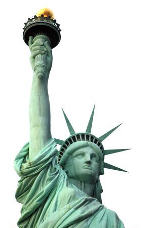 estatua de la justicia: Nueva York Estatua de la Libertad aislado en blanco Foto de archivo