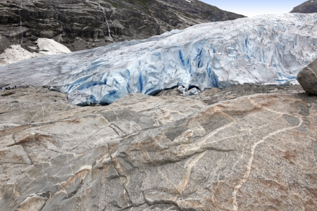 jostedalsbreen: Norway, Jostedalsbreen National Park. Famous Briksdalsbreen glacier in Briksdalen valley Stock Photo