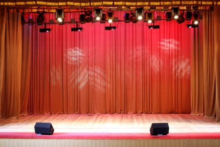 anybody: Theater stage red curtains