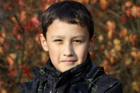 10 years old: boy 10 years old against colors leafs in falling Stock Photo