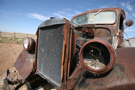 Old destroy abandoned american car, USA photo