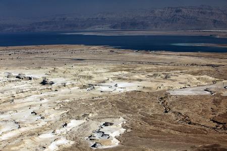 hebrews: Dead sea and Jordan Mt, view of ancient city Masada, Israel