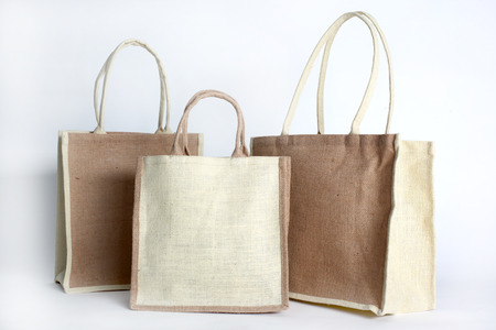 Shopping bag made out of recycled Hessian sack photo