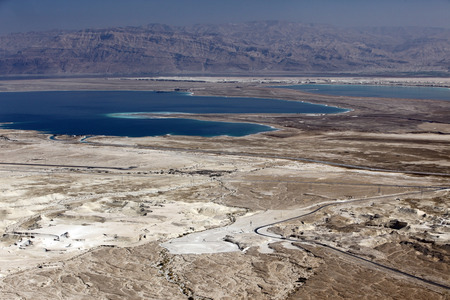 hebrews: Dead sea and Jordan Mt, view of ancient city Masada, Israel