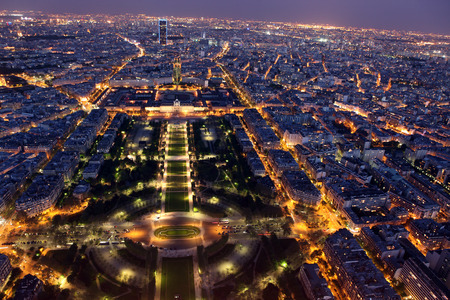 Night view of Paris from the Eiffel Tower photo