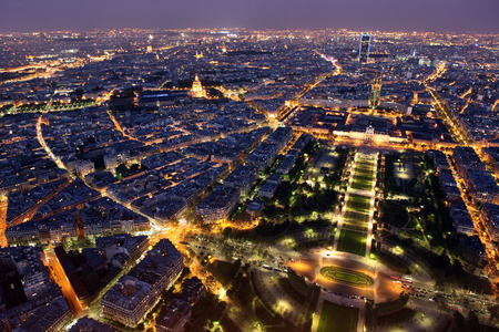 Famous and Beautiful night view to Paris from the Eiffel Tower photo