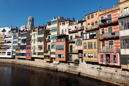 jewish houses: View of the old town with colorful houses reflected in water Jewish quarter in Girona  Catalonia  Spain