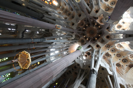 unrealistic: the unrealistic cathedral designed by Gaud in Barcelona Spain Editorial