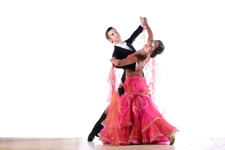 tango: Latino dancers in ballroom isolated on white background