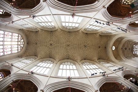 bath: Bath Abbey, Bath, England. 17th century Fan vaulted ceiling.