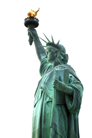 Famous NY Statue of Liberty isolated on white photo