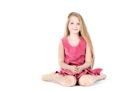 9 year old: adorable girl 9 year old on white background Stock Photo