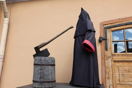 middleages: executioner at block with axe Stock Photo