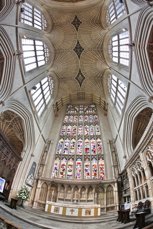 17th: Bath Abbey, Bath, England. 17th century Fan vaulted ceiling.