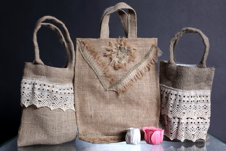 hessian: bag made out of natural eco recycled Hessian sack