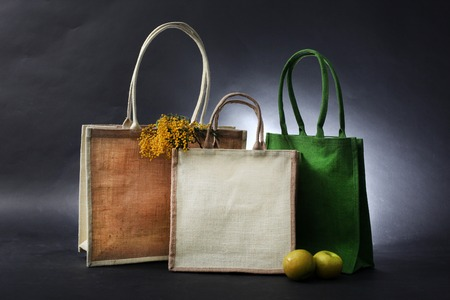 hessian bag: bag made out of natural eco recycled Hessian sack with apple and flowers