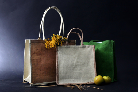 hessian bag: bag made out of natural eco recycled Hessian sack with apple, rye and flowers