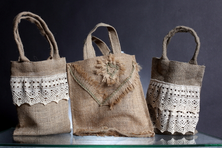 hessian bag: bag made out of natural eco recycled Hessian sack