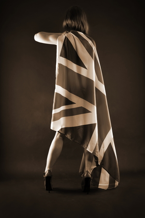 britannia: woman holding an UK flag