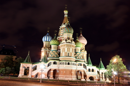 red square moscow: Night view of Intercession Cathedral St. Basils on Red square, Moscow, Russia